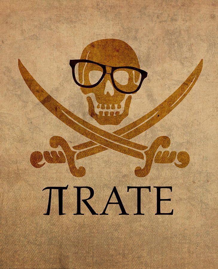 Pirate Math Nerd Humor Poster Art Mixed Media by Design Turnpike