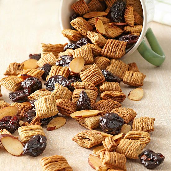 Apple pie spice and sweet dried cherries give this healthy snack hints of dessert indulgence. Using cereal as a base, the mix is easy to prep and makes twenty 82-calorie servings./