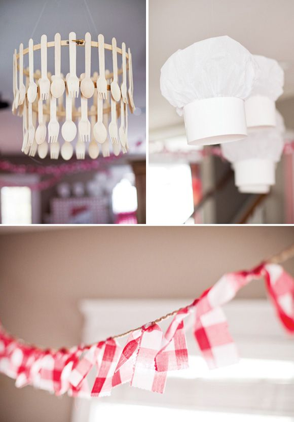 Adorable details for a Little Chefs Pizza Party - love the wooden utensil chandeliers!