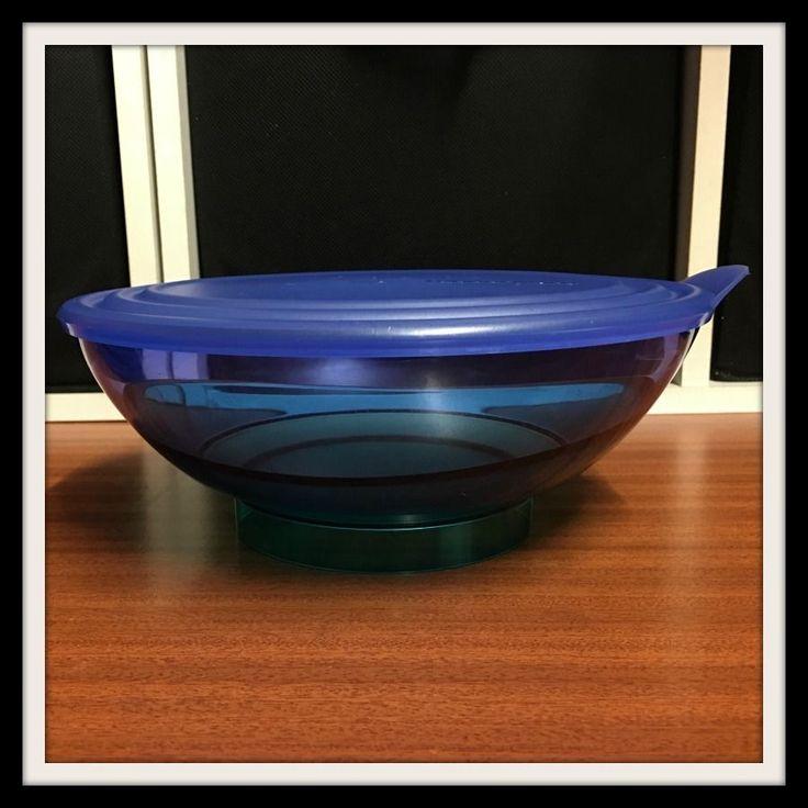 Tupperware ●● Eleganzia ●● Stunning Sea Blue/Green Deep Serving Bowl 1.5L W Seal