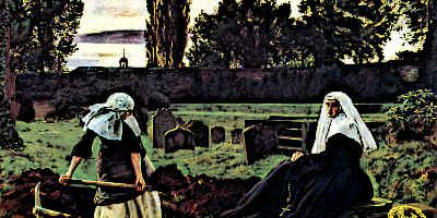 Medieval Nuns in Graveyard - Medieval Nuns could spend their lives helping others in medieval society or would devote their lives to prayer and contemplation. Medieval Nuns lived in monasteries and were well respected members of medieval clergy.