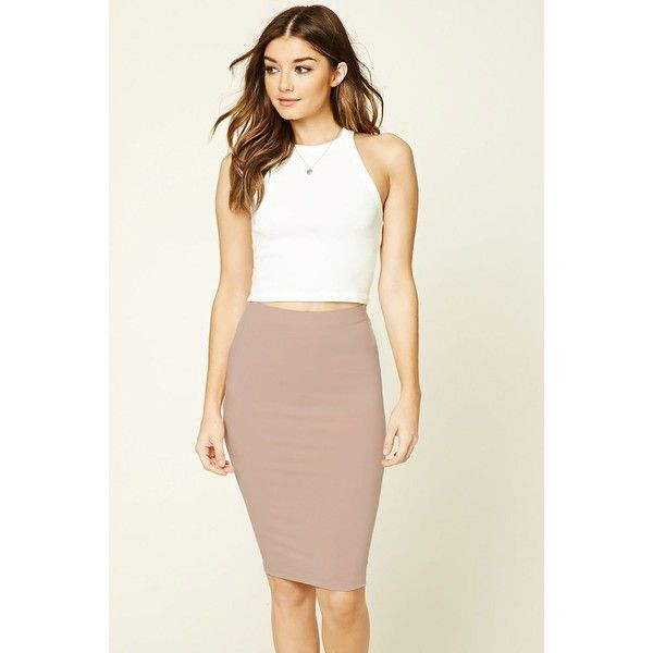 Forever21 Stretch-Knit Bodycon Skirt ($7.90) via Polyvore featuring skirts, dresses, dusty pink, forever 21, knee length skirts, white body con skirt, knee high skirts y full knee length skirt