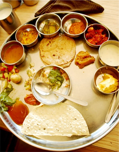 Thali - a large plate with various Indian food. With 22,464 delicacies from the states of Gujarat and Rajasthan alone, the possibilities of Indian food are endless