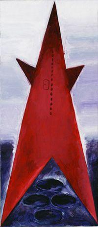 prom kosmiczny piekło-niebo, 1982, olej, 57X23 cm M.Sobczyk