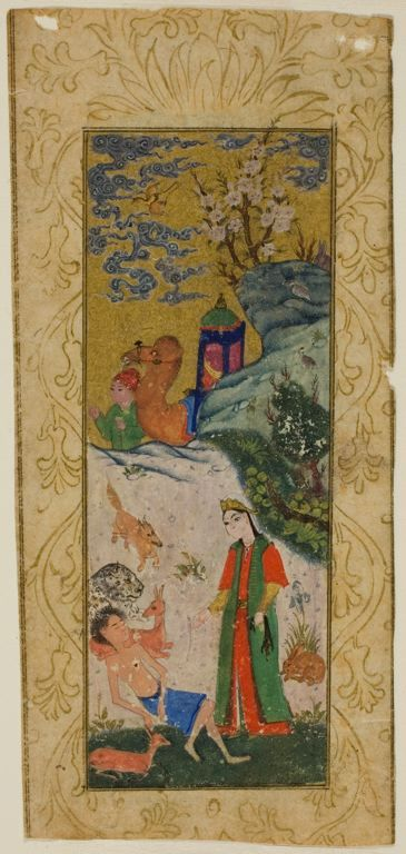 Layla Visiting Majnun in the Desert, 16th century Gouache on paper The Art Institute of Chicago