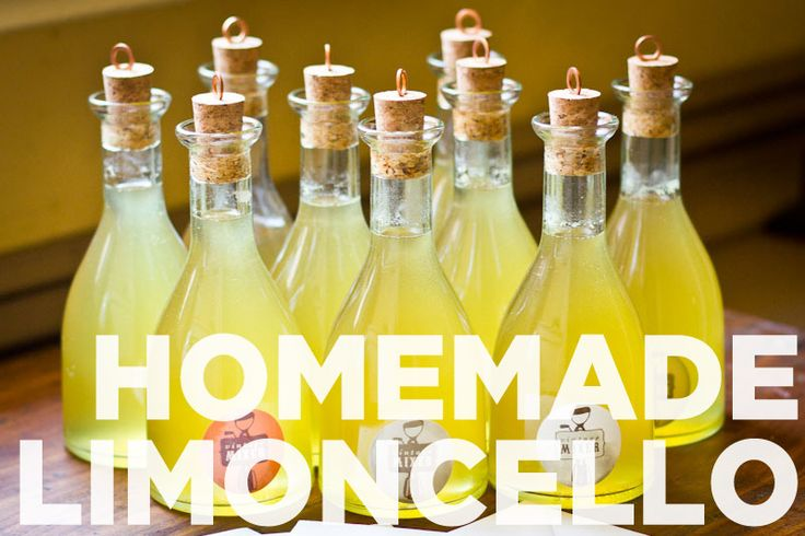 Homemade Limoncello.  We should make a batch in September to test it.  I would love to give something homemade as favors!