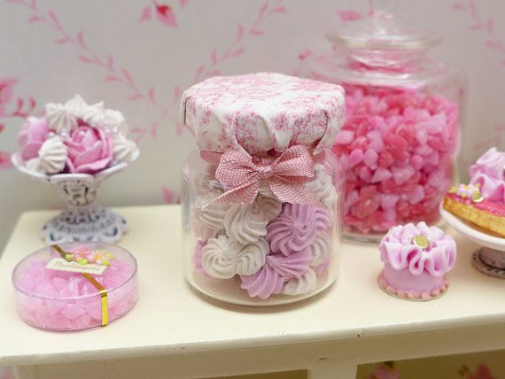 Large Jar of French Meringues Pink & White by ParisMiniatures