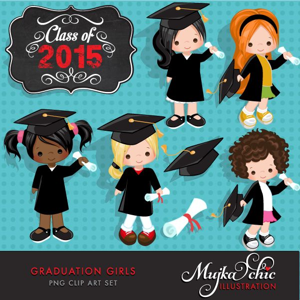 Little gradutes with Class of 2015 & 2016 wording This adorable set comes with 8 high quality graphics featuring cute little characters in graduation gown and capes. Class of 2015, Class of 2016 wording saved separately. Perfect for invitations, party printables and embroidery.