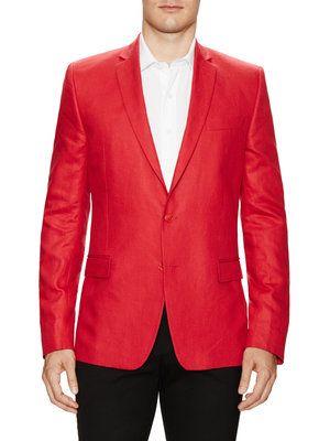Linen Sportcoat, Red look. Versace Collection. Spring-Summer 2015.
