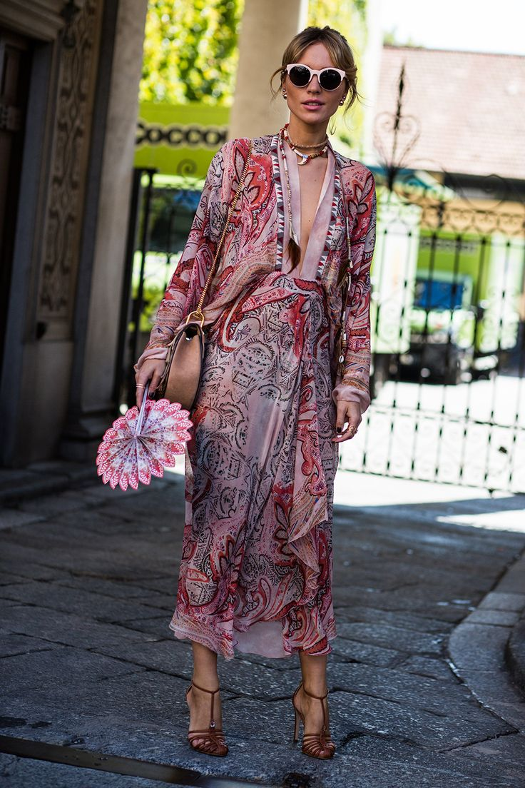 Milan street style, SS16 shows. Patterned dress- boho vibes- only less revealing neck-line. Boho Fashion Friend.
