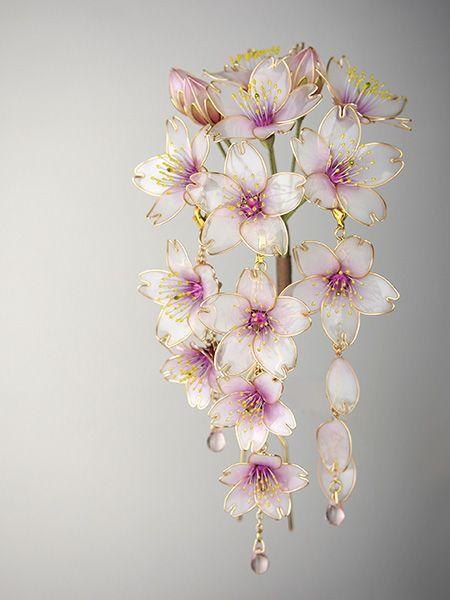 ◆桜◆さくら◆かんざし◆簪◆ディップアート◆蒼翠◆_画像1