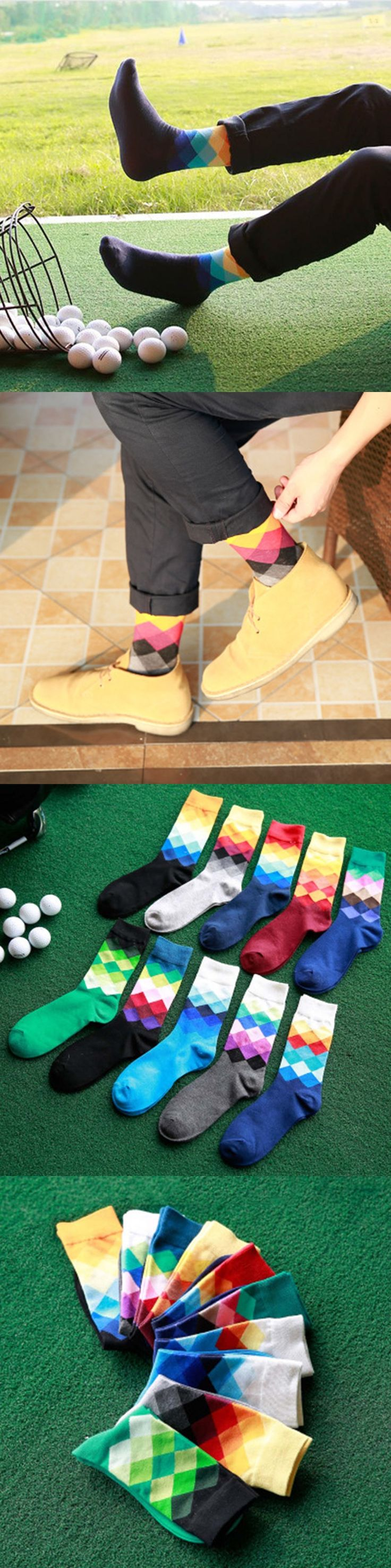 1 Pair Male New Brand Happy Socks Gradient Color Paragraph British Style Pure Cotton Stockings Men's In Tube Socks