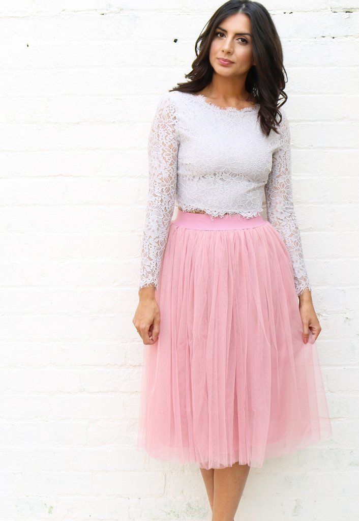 High Waisted Tulle Midi Skirt in Mid Dusky Pink