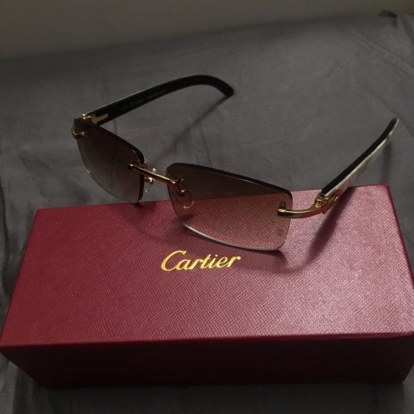 ef9ef4c2f85a White Buffalo Horn - Cartier Sunglasses - Men s These Are White Cartier  Buffs With Light Brown Tint. Also Have Some With The Baby Blue Tint.