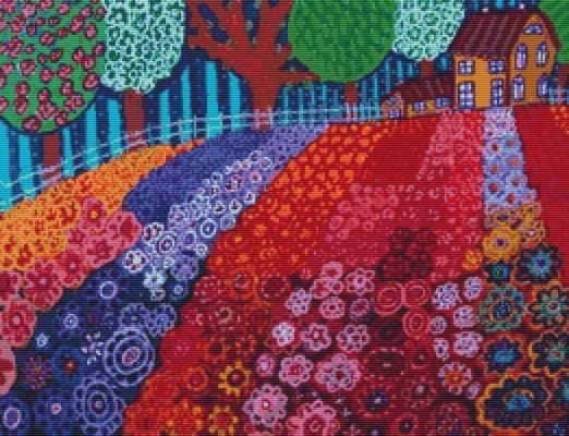 Modern Cross Stitch Kit Flower Fields' By Heather Galler - CrossStitch Art