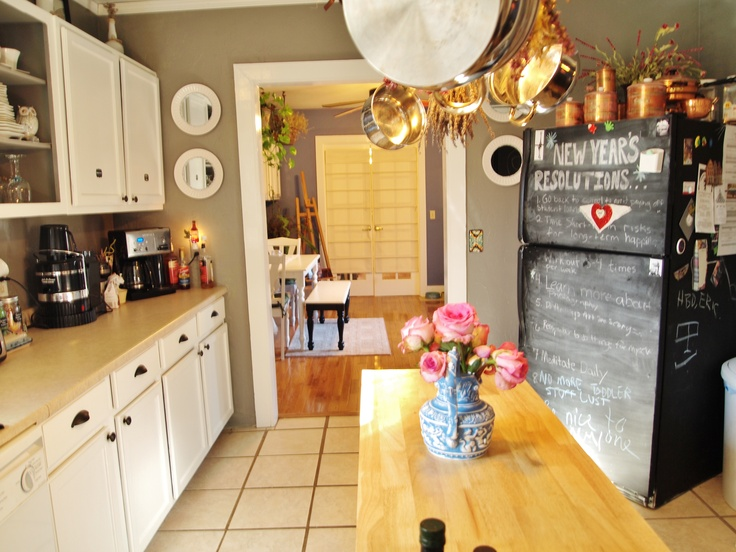 Grey Gray Kitchen, White Cabinets, Chelsea Grey, Owl Grey, Chalkboard
