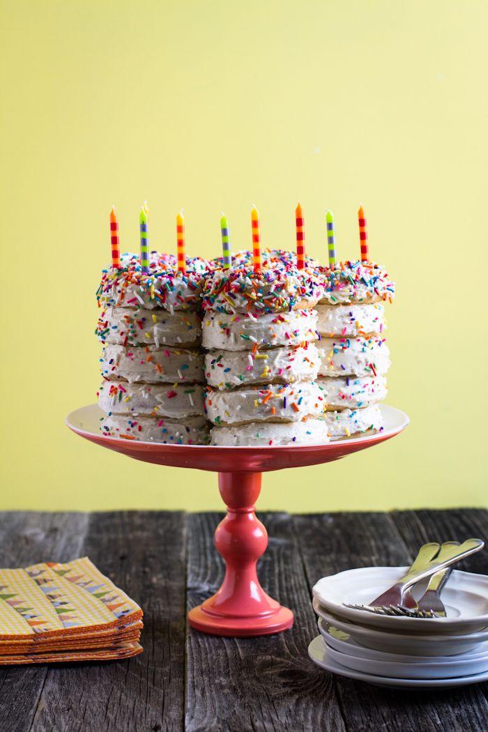 Doughnut birthday cake.