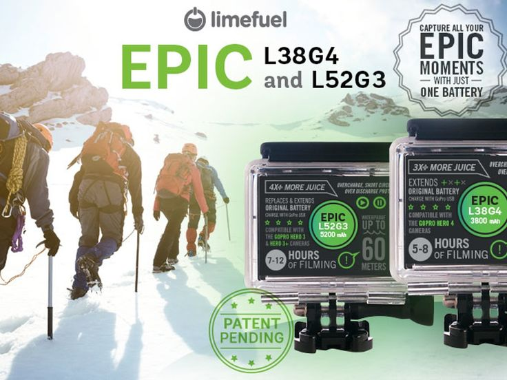 GoPro Hero 4, 3/3+ Extended Battery Pack- Limefuel Epic. Triple the battery life of your GoPro Hero 4 and Hero 3/3+. Capture all your Epic moments with just one battery! (Patent Pending) Kickstarter