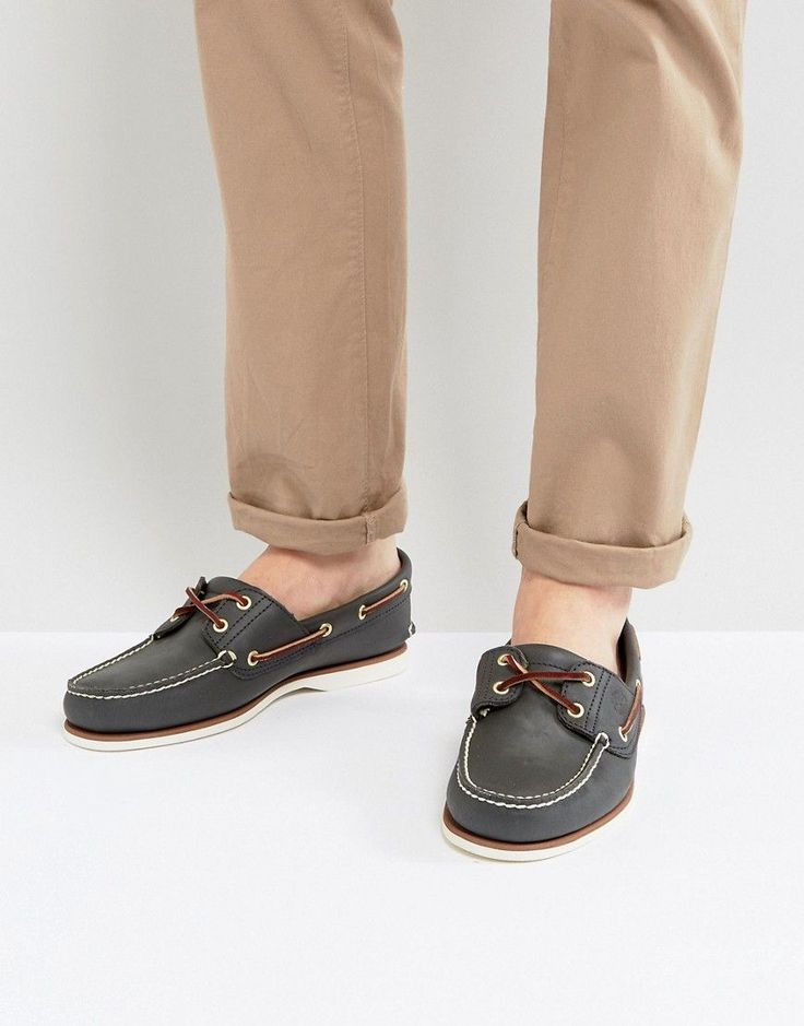 TIMBERLAND CLASSIC LEATHER BOAT SHOES IN NAVY - NAVY. #timberland #shoes #