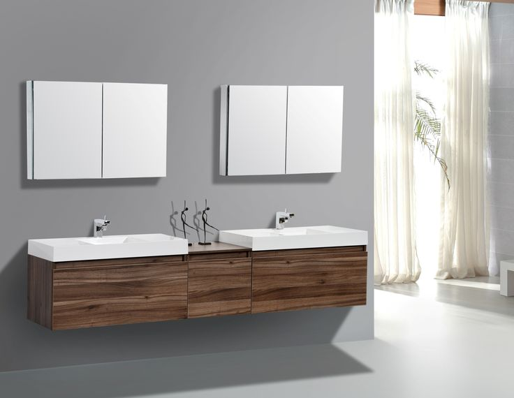 Unpolished Chestnut Wood Floating Double Vanity For Bathroom With White Ceramic Apron Sink Under Double Mirror Medcine Cabinet Astonishing Double Bathroom