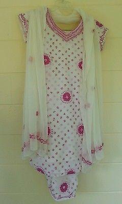 Pakistani Indian Sari Saree Women 3 Pc Set Tunic Dress Pants Scarf Pink Lined S
