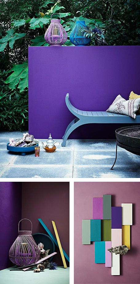 Great wall of PLUM.: Colors Trends, Interiors Colors, Interiors Design, Colors Palettes, Colors Schemes, Outdoor Spaces, Purple Wall, Purple Gardens, Colour Schemes