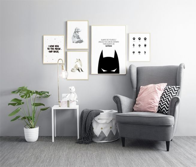 Innred med plakater til barnerommet | Fin innredning med bildevegg til barnerom