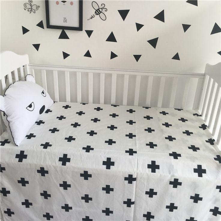Online Shop Classic Black White Minimalist Scandinavian Style Cotton Baby Sheets Brib Supplies Decorations Size110*150CM   Aliexpress Mobile