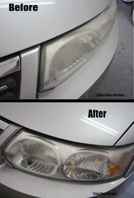DIY Headlight Cleaner - Clean rag, cheap regular toothpaste and water to rinse with.  Apply toothpaste with a dry rag, and rub in a circular motion until grime starts to come off.  Rinse clean.  Repeat if necessary.