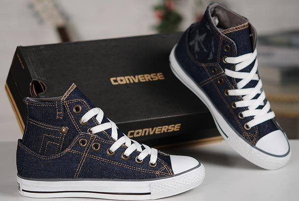 Converse Fashion ox Retro Dark Blue Denim All Star High Tops Canvas Sneakers