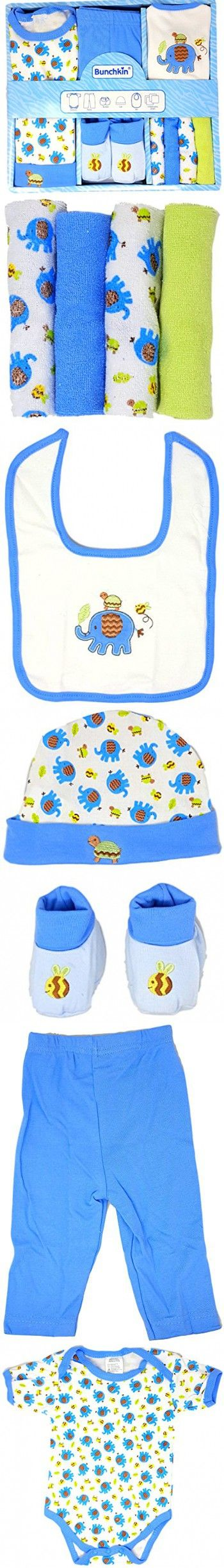 Gift Baby Shower Boy This 9 Piece Baby Boy Gift Set (0-6 mos) is 100% Cotton and Includes a Blue Baby Onesie, Blue Pants, Blue Booties, Blue Cap, Blue Bib, and 4 Baby Washcloths(80% Cotton)