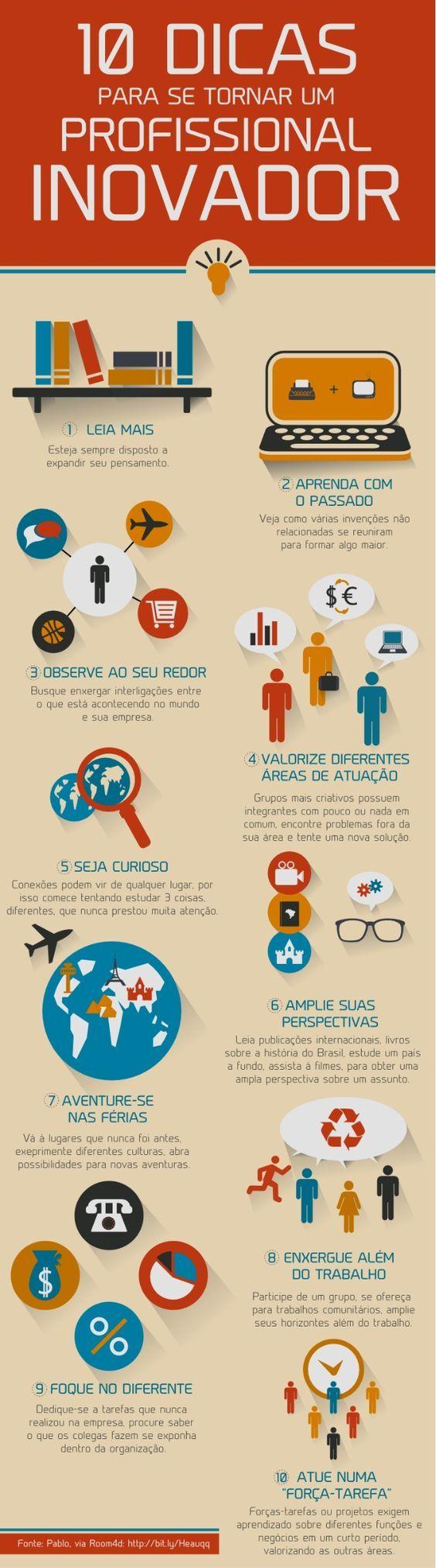 10 dicas para se tornar um profissional inovador | #conhecimento #infográfico #infographic: