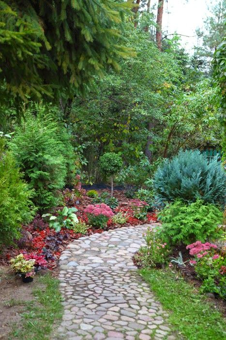 Stone path throughout a pretty garden