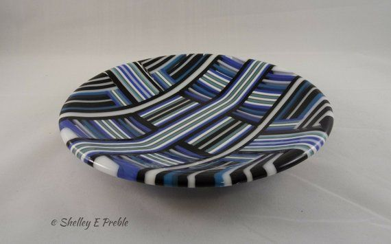 This Fused Glass Bowl Is Created 3 8 Strips Of Blue White And Black Glass Fired To A Temperature Of 1480 Degrees In Th Fused Glass Bowl Fused Glass Glass Bowl