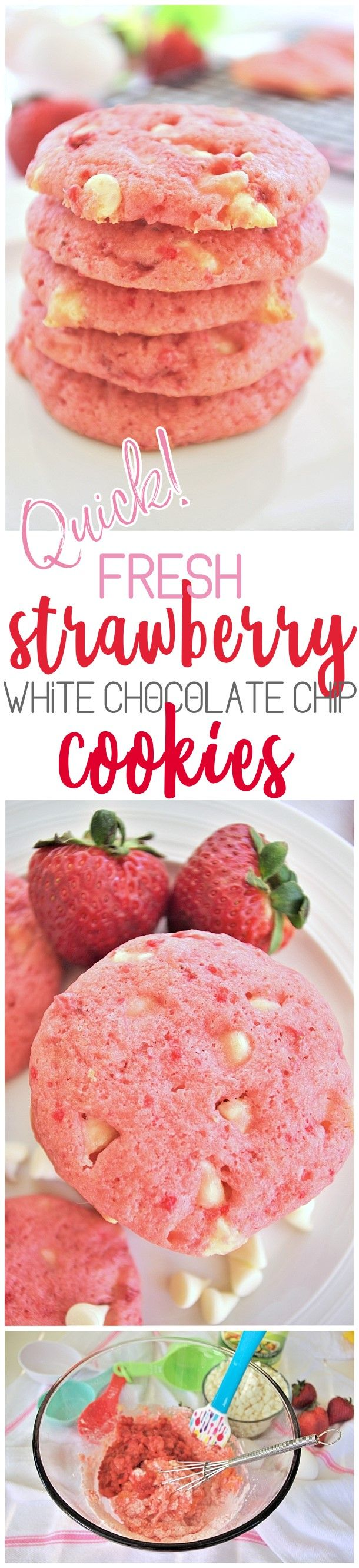 Fresh Strawberry White Chocolate Chip Cookies Dessert Easy and Quick Treats Recipe - #strawberrycookies #strawberrywhitechocolatecookies #easycookies #pinkcookies #valentinesdaydesserts #valentinesday #babyshowerdesserts #bridalshowerdesserts #brunch #springdesserts #summerdesserts This recipe is so quick, easy and PERFECT for so many occasions. Darling pink gender reveal baby girl showers, Valentine's Day desserts and gift plates, bridal shower dessert tables, any spring and summer birthday…