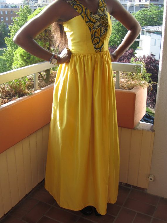 Yellow Ball Dress With Ankara Detailing by FeeBaaYsCloset on Etsy