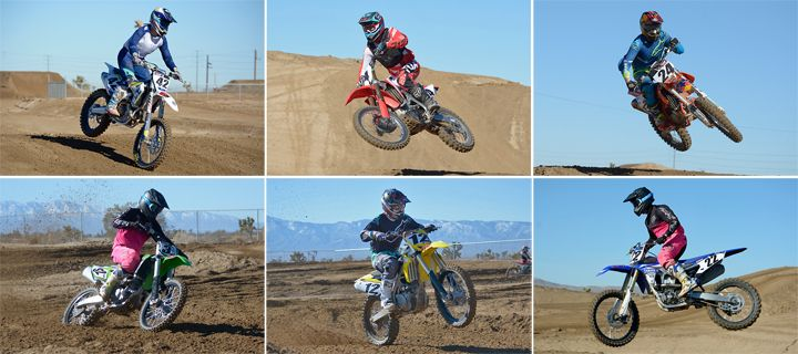 Six bikes, one winner. Clockwise from top left: Husqvarna FC 450, Honda CRF450R, KTM 450 SX-F Factory Edition, Kawasaki KX450F, Suzuki RM-Z450, Yamaha YZ450F.
