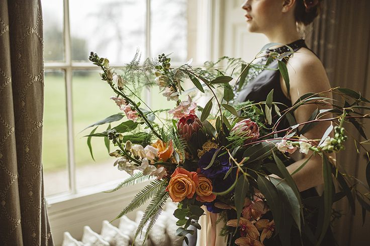 Large Bouquet Bride Bridal Protea Rose Gern Tulip Greenery Dutch Masters Wedding Inspiration https://www.kindredphotography.co.uk/