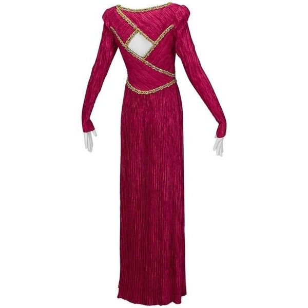 Preowned Mary Mcfadden Numbered Couture Jeweled Keyhole Back Gown,... ($2,950) ❤ liked on Polyvore featuring dresses, gowns, delphos gowns, red, purple evening dress, couture evening gowns, embellished gown, couture gowns and purple long sleeve dress