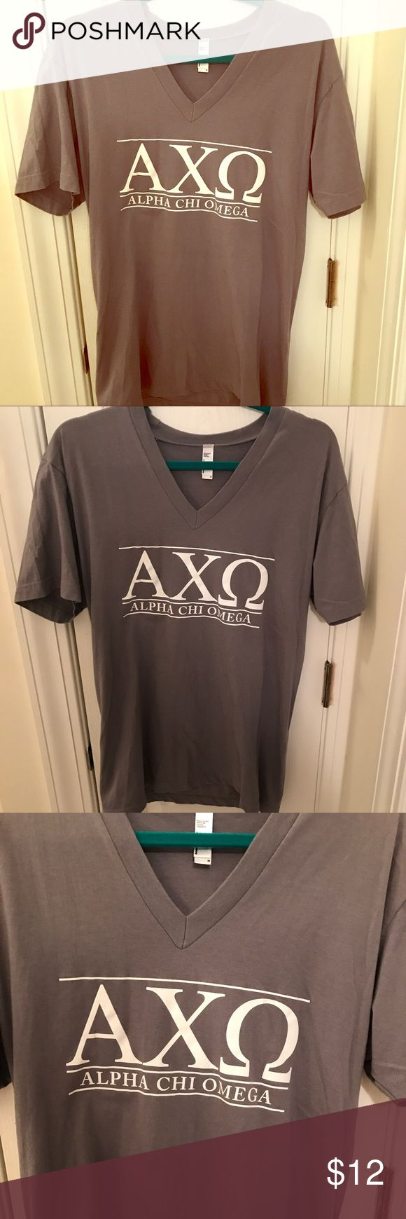 Gray alpha chi omega American apparel t shirt M American apparel gray alpha chi omega t shirt with white lettering only worn once for recruitment great fit to wear with leggings! Size medium perfect gift for a little or big!! American Apparel Tops Tees - Short Sleeve
