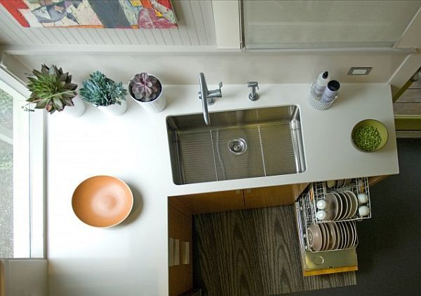 contemporary kitchen with cabinet dishwasher