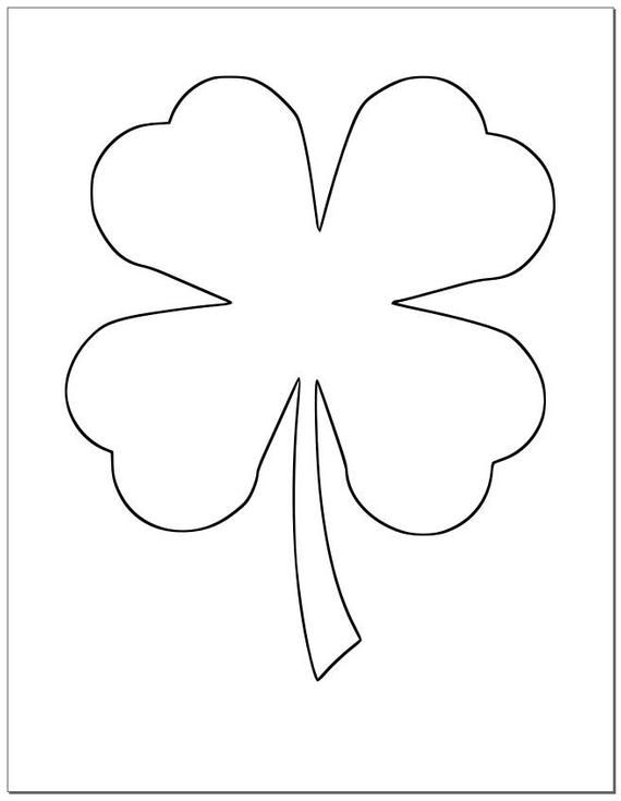 8 5 Inch Shamrock Template Large Printable Shamrock St Patrick S Day Diy Crafts Large 4 Leaf Clover Template Kids Crafts Classroom Decor Shamrock Template Shamrock Printable Printable Heart Template