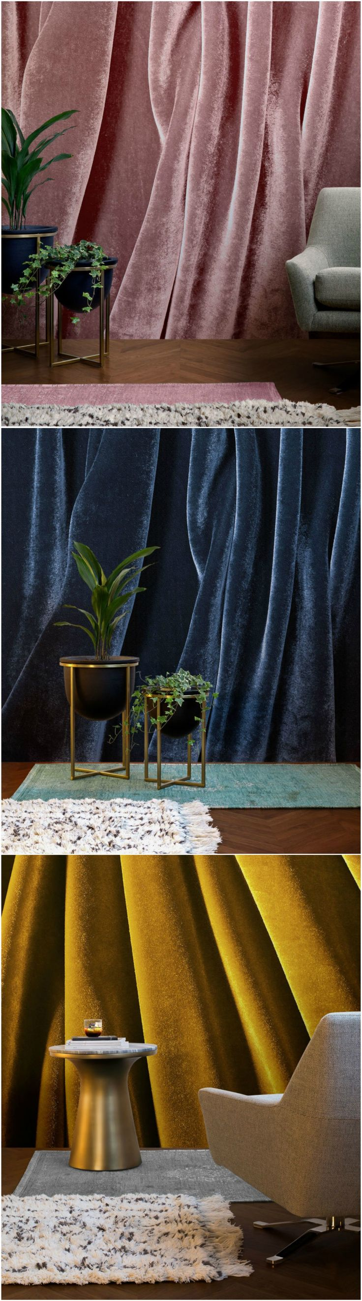 Murals Wallpaper has designed the on-trend Opulent Velvet collection which promises to bring dramatic colour, sensuality and texture to any interior. The elegant, drape-like design with stylised folds, boasts rich, comforting hues in different colourways including dark blue, emerald, mustard and dusky pink.  #walls #walldecor #mural #wallmurals #wallpaper #velvet #pink #blue #mustard