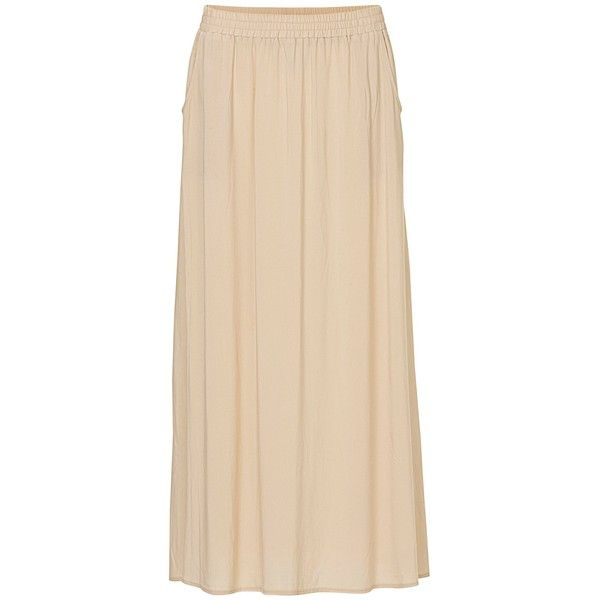 Betty & Co. Long Skirt, Sandshell (7.100 RUB) via Polyvore featuring skirts, long maxi skirts, womens plus size skirts, long flared skirt, beige skirt и long skirts