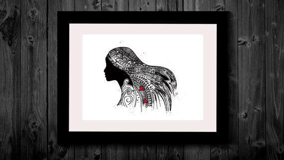 Wall Art, Drawing, Illustration, Zentangle Inspired, Patterns, Art, Print, Home Decor, Modern, Creative, Gift Idea, Woman, Gypsy, Wild
