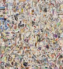 """869/1196 - Javier Tapia: """"Untitled"""", 2014. Collage-assemblage, mixed media on two panels. Total 230 x 200 cm."""