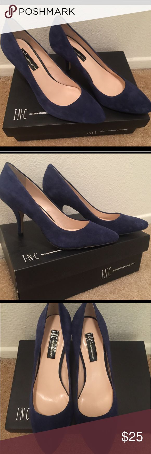 ONLY WORN ONCE! - blue suede pumps 3 inch heel, blue suede. Only worn once! In perfect condition! INC International Concepts Shoes Heels