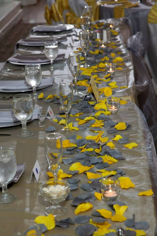 Grey and #yellow petals. Simple, elegant, and inexpensive! #weddings #events #brides