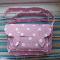 Cath Kidston Pink Spot Cotton Fabric Satchel HANDMADE £15.99