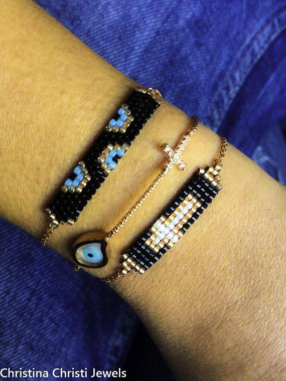 Tear Evil Eye Bracelet Zircon Cross, Rose Gold Bracelets, Cross Bracelet, Tiny Evil Eyes Bracelet, Miyuki Bracelet, From Sterling Silver 925